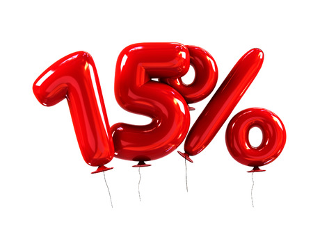 15% Discount made of Red Helium Balloons. 3d Rendering isolated on White Background Stock Photo - 67793815
