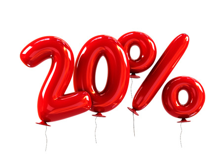 20% Discount made of Red Helium Balloons. 3d Rendering isolated on White Background