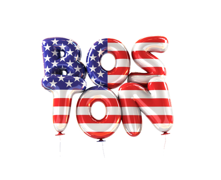 Boston Symbol Made of Balloons in National Flag Colors of America Stock Photo