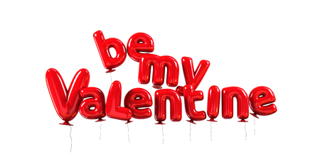 Be my Valentine poster, made of red helium balloons with glossy reflections. 3d rendering isolated on white background Stock Photo