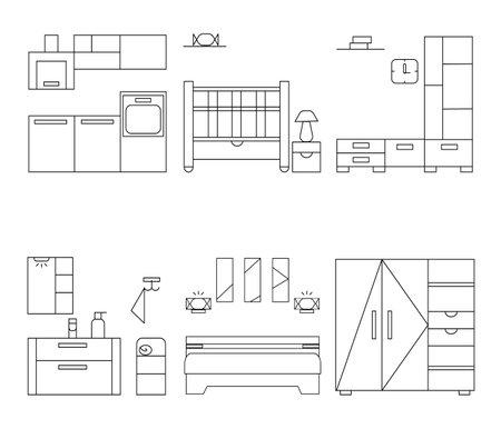 Furniture set in simple style. Kitchen, children room, bathroom, shelf and badroom. Outline vector illustration