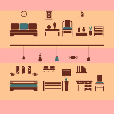 Brown and green furniture icons set with bed, lamp, sofa, chair, decor and table. Vector illustration