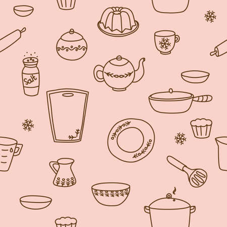 Dishes outline pattern with teapot, milk jug, plate, mug, cutting board, baking dish. Vector illustration