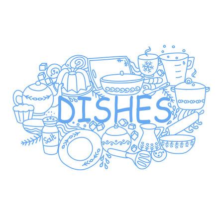 Dishes outline illustration with teapot, milk jug, plate, mug, cutting board, baking dish. Vector illustration