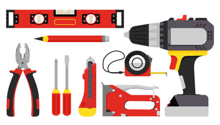 Building tools. Repair hand tools screwdriver, furniture stapler, wrench, pliers, tape measure, level. Vector illustration flat style
