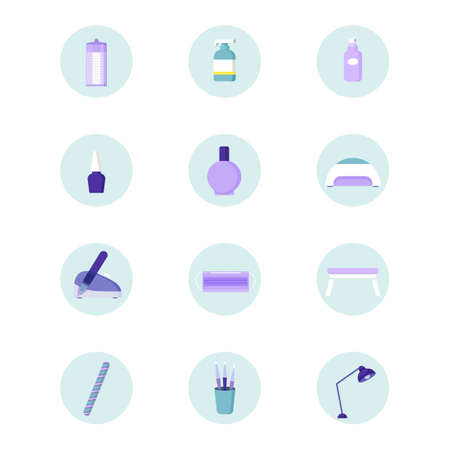 Manicure icons in simple style. Lamp for manicure, nail polish, cotton pads and nail files. Vector set Vettoriali