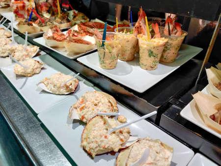 Spanish seafood tapas bar varied in horizontal