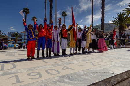 Yungay, Peru, July 25, 2014: theatrical representation of young people characterized in period costumes about the independence of Peru in the celebration of the national holiday