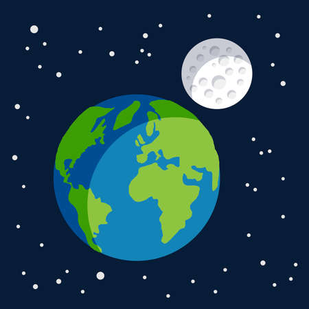 Earth planet earth globe with its moon satellite with craters spinning around it Ilustrace