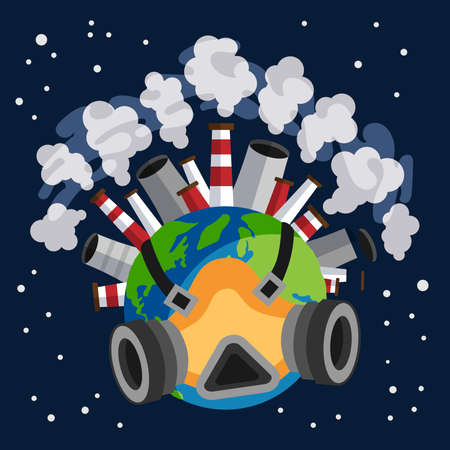 Earth planet earth globe with a gas mask on protecting itself from harmful gases expelled by factories, pollution concept
