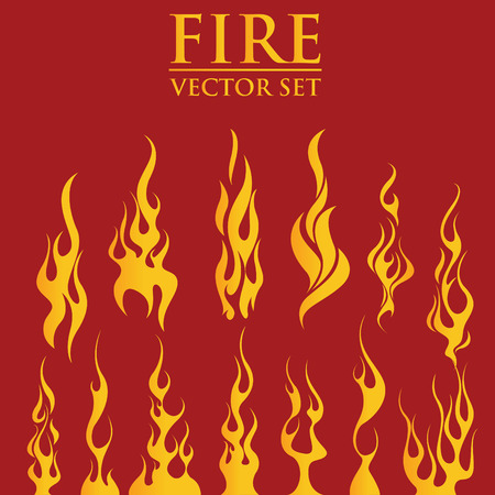 Fire flames, set icons, vector illustration Çizim