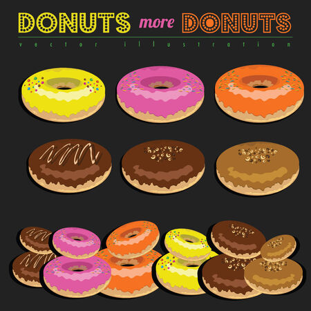 Set of Donuts Vector Art Vector