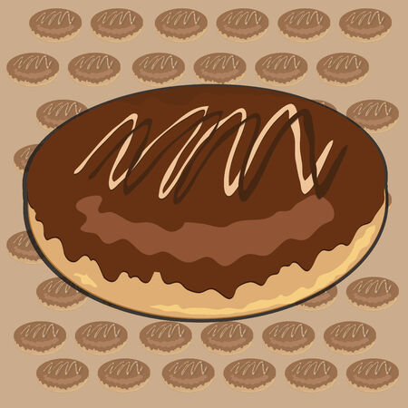 Chocolate Cream Donut Vector