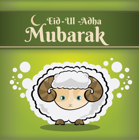 Muslim community kurban bayram - festival of sacrifice Eid Ul Adha greeting card or background with sheep on abstract vintage background. Vector