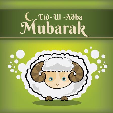 Muslim community kurban bayram - festival of sacrifice Eid Ul Adha greeting card or background with sheep on abstract vintage background. Иллюстрация