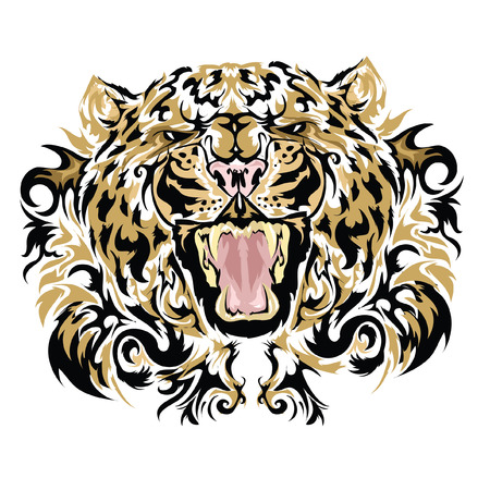 panthera pardus: Tattoo vector sketch of a leopard\\