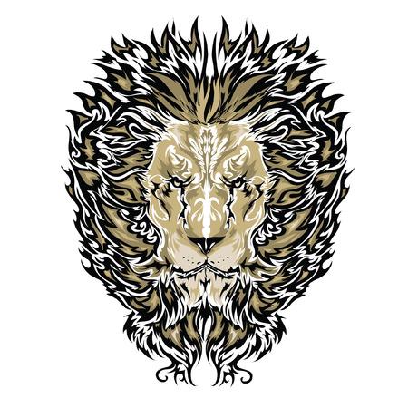 гребень: Татуировка векторный рисунок льва  Иллюстрация