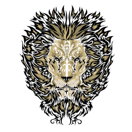 lion head: Tattoo vector sketch of a lion\\