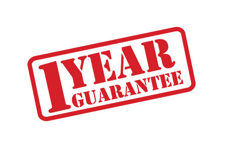 1 year guarantee Stamp vector over a white background. Vector