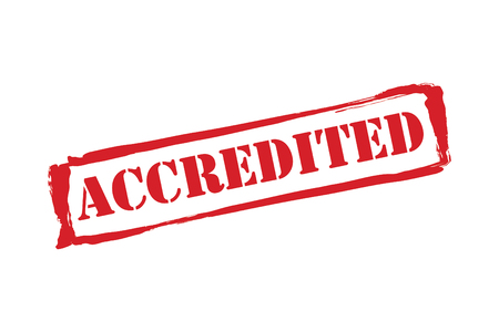 credited: Accredited Stamp vector over a white background.