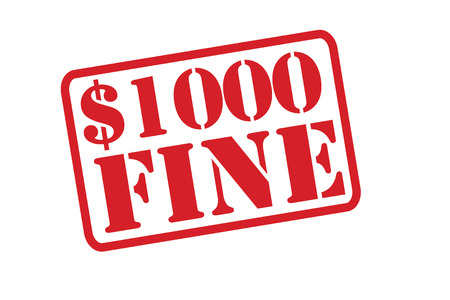 breaking law: $1000 fine Stamp vector over a white background.