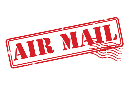 AIR MAIL red rubber stamp vector over a white background.