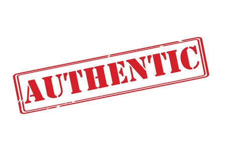 authenticate: AUTHENTIC red rubber stamp vector over a white background.