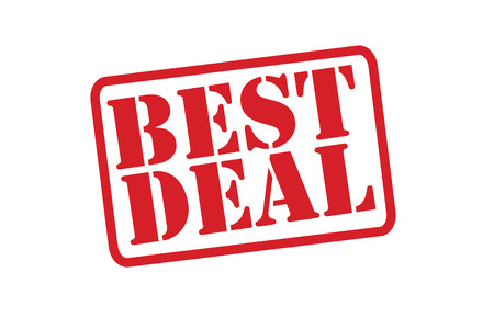 pledge: BEST DEAL Red Rubber Stamp vector over a white background.