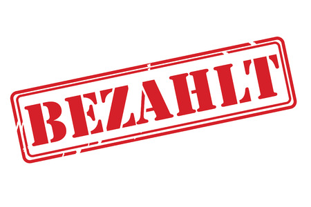 paid: BEZAHLT ( paid ) red rubber stamp vector over a white background. Illustration