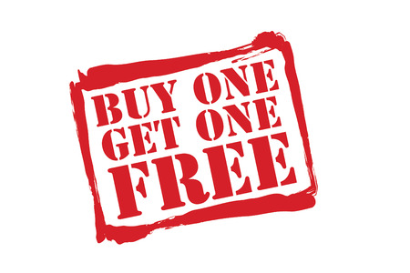 get: BUY ONE GET ONE FREE red rubber stamp vector over a white background.