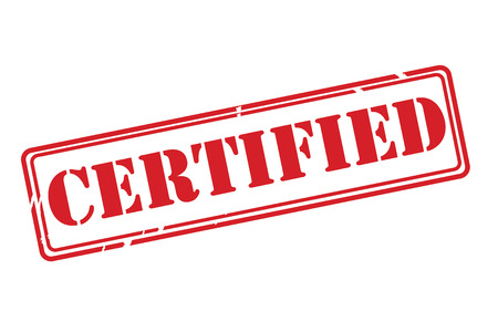 autoriser: Certifi� Red vecteur de timbre en caoutchouc sur un fond blanc. Illustration