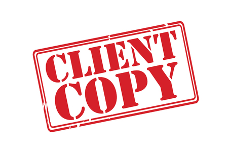CLIENT COPY red rubber stamp vector over a white background.