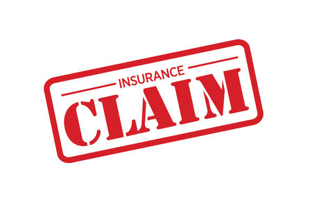 insurance claim: INSURANCE CLAIM red Rubber Stamp vector over a white background.