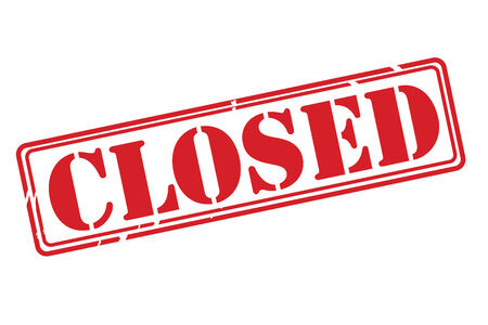shut out: CLOSED Red Rubber Stamp vector over a white background.