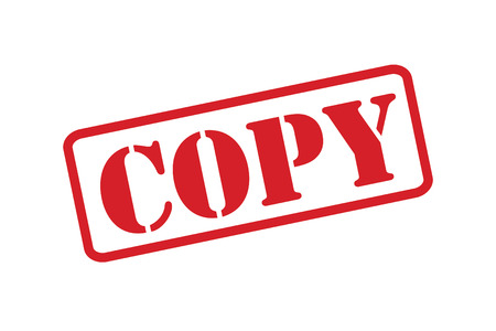 COPY red rubber stamp vector over a white background.