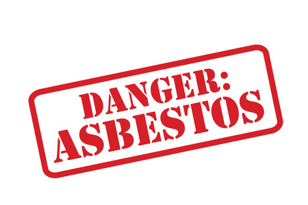 asbestos: DANGER: ASBESTOS red Rubber Stamp vector over a white background. Illustration