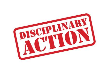 Disciplinaire maatregelen rode rubber stempel vector op een witte achtergrond.