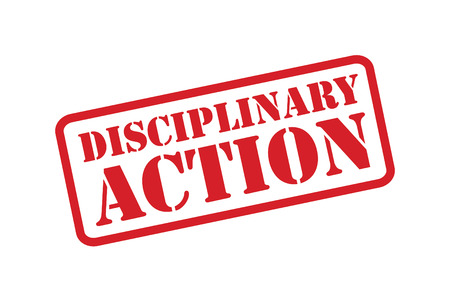 consequence: DISCIPLINARY ACTION red Rubber Stamp vector over a white background.