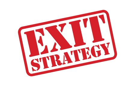 escape plan: EXIT STRATEGY red Rubber Stamp vector over a white background.