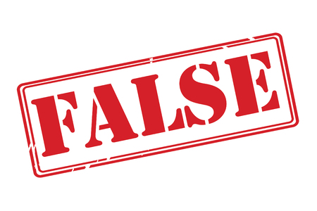 false: FALSE red rubber stamp vector over a white background.