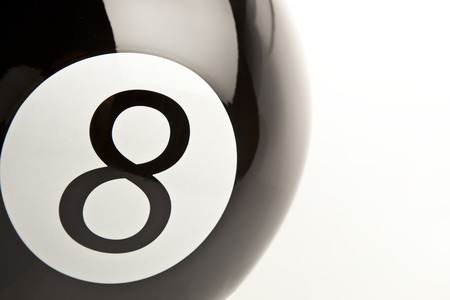 eightball: 8 Number billiards ball close-up white background