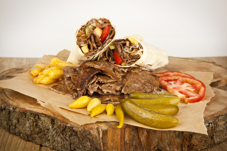 delicious turkish doner kebab grilled meat photo