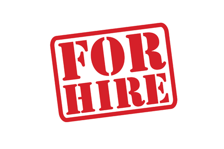 FOR HIRE Red Rubber Stamp over a white background. Illustration
