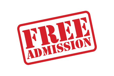 admission: FREE ADMISSION red Rubber Stamp over a white background.