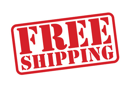 FREE SHIPPING Red Rubber Stamp over a white background. Vector