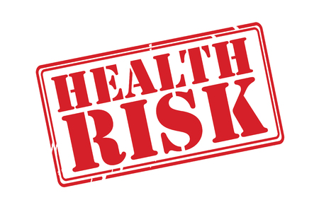 HEALTH RISK red rubber stamp over a white background. Vector