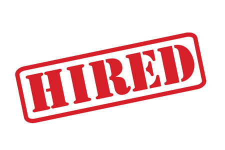 hired: HIRED Rubber Stamp over a white background.