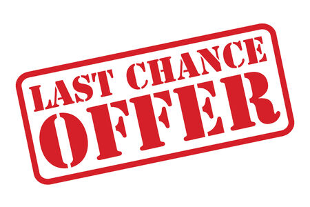 last chance: LAST CHANCE OFFER red rubber stamp over a white background.