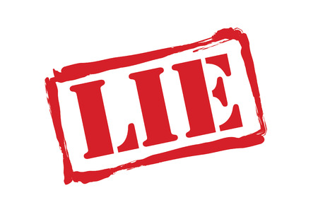 deceitful: LIE red rubber stamp over a white background.