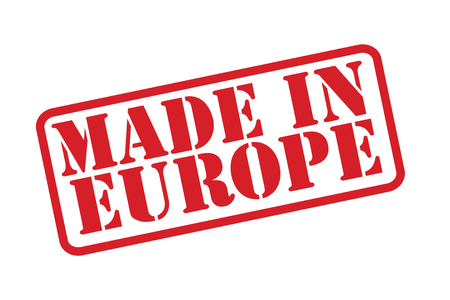 manufactured: MADE IN EUROPE Rubber Stamp over a white background.